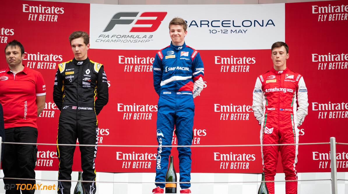 2019 Barcelona CIRCUIT DE BARCELONA-CATALUNYA, SPAIN - MAY 11: Robert Shwartzman (RUS, PREMA Racing) Christian Lundgaard (DNK, ART Grand Prix) and Marcus Armstrong (NZL, PREMA Racing) during the Barcelona at Circuit de Barcelona-Catalunya on May 11, 2019 in Circuit de Barcelona-Catalunya, Spain. (Photo by Joe Portlock / LAT Images / FIA F3 Championship) 2019 Barcelona Joe Portlock  Spain  Action Race 1 F3 Formula 3 FIA F3