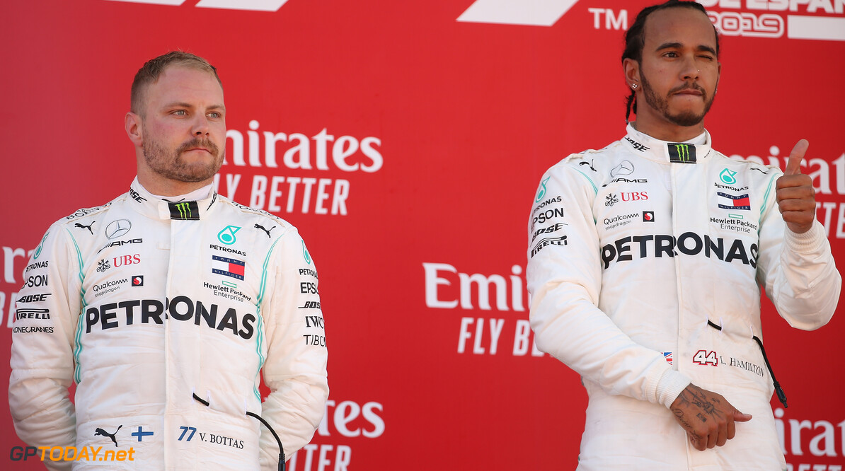 Formula One World Championship 2nd place Valtteri Bottas (FIN) Mercedes AMG F1 W10 and 1st place Lewis Hamilton (GBR) Mercedes AMG F1 W10. 12.05.2019. Formula 1 World Championship, Rd 5, Spanish Grand Prix, Barcelona, Spain, Race Day. - www.xpbimages.com, EMail: requests@xpbimages.com - copy of publication required for printed pictures. Every used picture is fee-liable. (C) Copyright: Batchelor / XPB Images Motor Racing - Formula One World Championship - Spanish Grand Prix - Race Day - Barcelona, Spain XPB Images Barcelona Spain  Formel1 Formel F1 Formula 1 Formula1 GP Grand Prix one Circuit de Catalunya May Spanish Spain Montmelo Sunday 12 05 5 2019 Podium Portrait