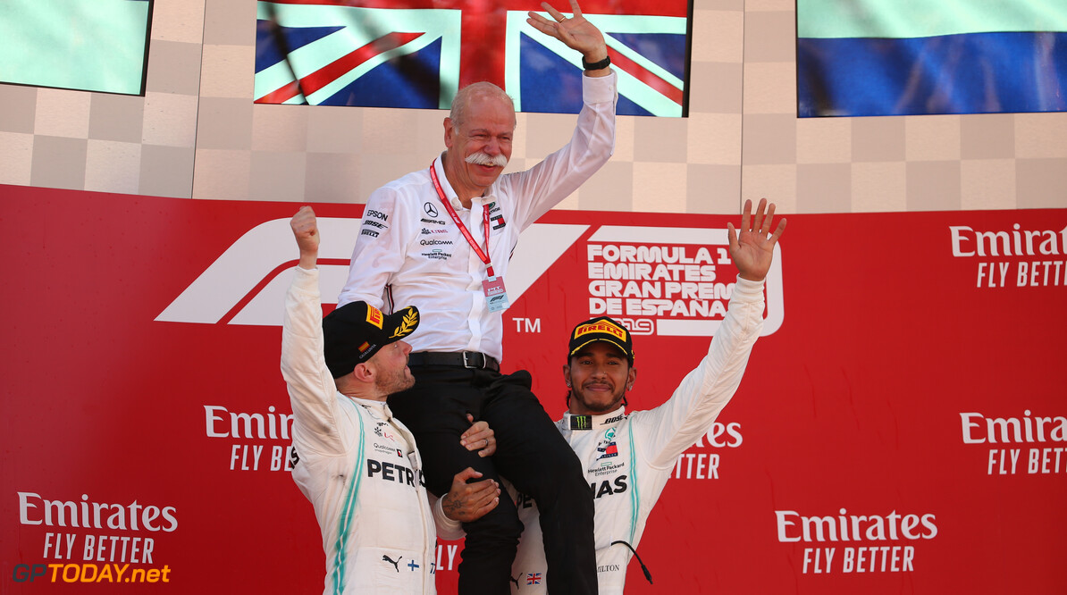 Formula One World Championship 1st place Lewis Hamilton (GBR) Mercedes AMG F1 with Valtteri Bottas (FIN) Mercedes AMG F1 and Dr. Dieter Zetsche (GER) as Daimler AG CEO. 12.05.2019. Formula 1 World Championship, Rd 5, Spanish Grand Prix, Barcelona, Spain, Race Day. - www.xpbimages.com, EMail: requests@xpbimages.com - copy of publication required for printed pictures. Every used picture is fee-liable. (C) Copyright: Batchelor / XPB Images Motor Racing - Formula One World Championship - Spanish Grand Prix - Race Day - Barcelona, Spain XPB Images Barcelona Spain  Formel1 Formel F1 Formula 1 Formula1 GP Grand Prix one Circuit de Catalunya May Spanish Spain Montmelo Sunday 12 05 5 2019 Podium Portrait