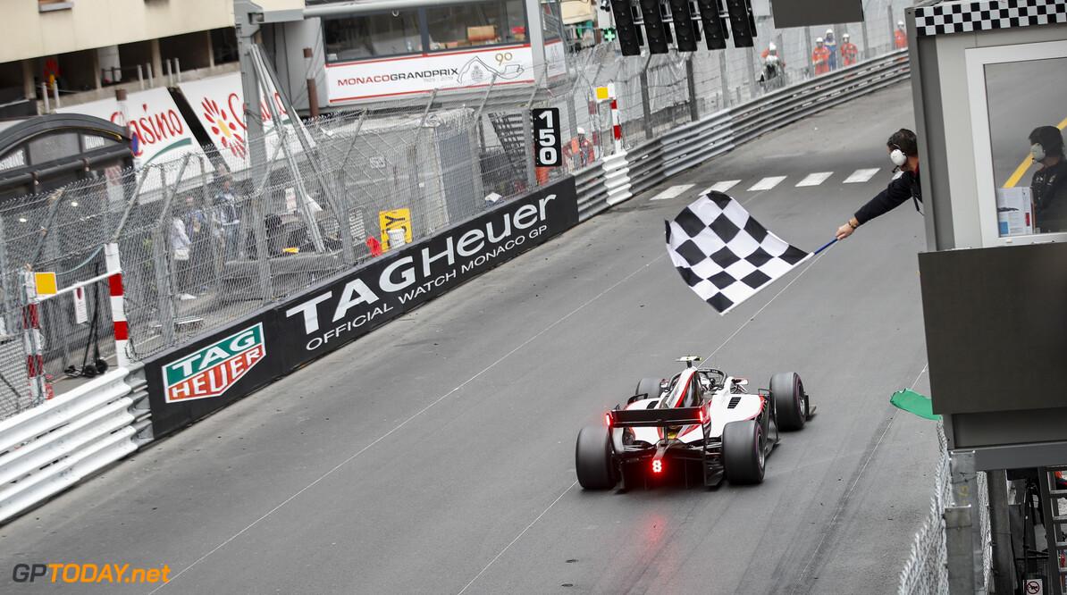 FIA Formula 2 MONTE CARLO, MONACO - MAY 24: Race Winner Nyck De Vries (NLD, ART GRAND PRIX) crosses the finish line during the Monaco at Monte Carlo on May 24, 2019 in Monte Carlo, Monaco. (Photo by Joe Portlock / LAT Images / FIA F2 Championship) FIA Formula 2 Joe Portlock  Monaco  action rear ts-live