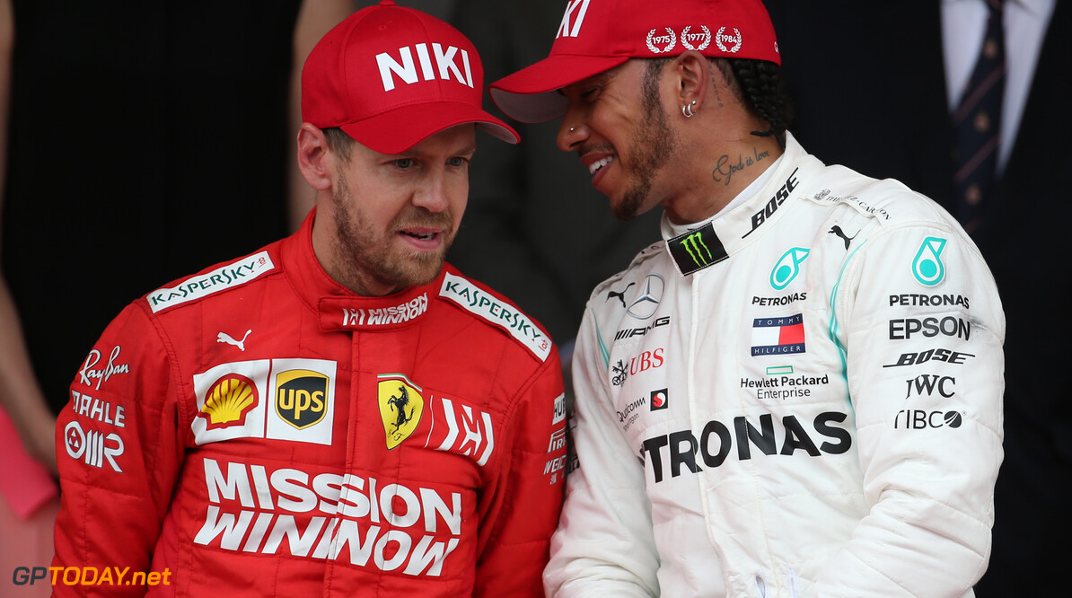 Formula One World Championship 2nd place Sebastian Vettel (GER) Ferrari SF90 and 1st place Lewis Hamilton (GBR) Mercedes AMG F1 W10. 26.05.2019. Formula 1 World Championship, Rd 6, Monaco Grand Prix, Monte Carlo, Monaco, Race Day. - www.xpbimages.com, EMail: requests@xpbimages.com - copy of publication required for printed pictures. Every used picture is fee-liable. (C) Copyright: Batchelor / XPB Images Motor Racing - Formula One World Championship - Monaco Grand Prix - Sunday - Monte Carlo, Monaco XPB Images Monaco Monte Carlo  Formel1 Formel F1 Formula 1 Formula1 GP Grand Prix one May Monaco Monte Carlo Monte-Carlo Sunday 26 5 05 2019 Podium Portrait