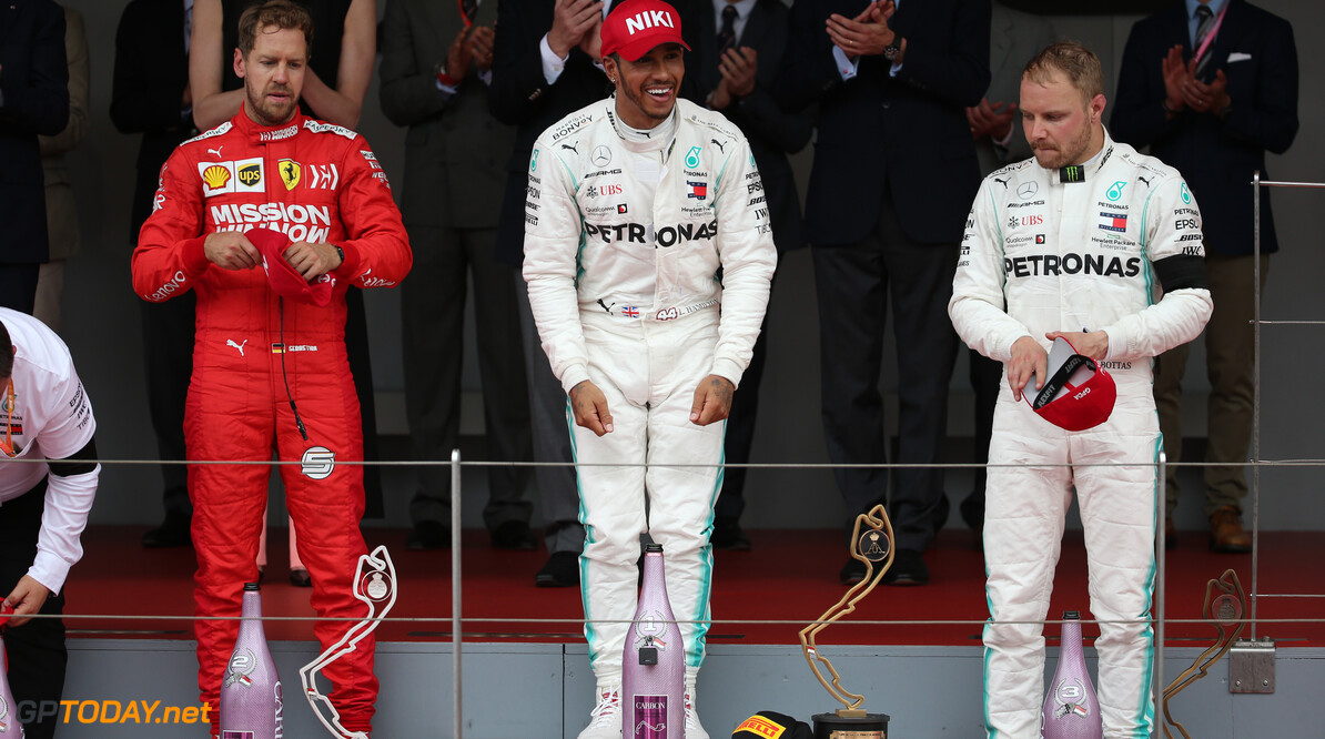 Formula One World Championship The podium (L to R): Sebastian Vettel (GER) Ferrari second; Lewis Hamilton (GBR) Mercedes AMG F1, race winner; Valtteri Bottas (FIN) Mercedes AMG F1, third.  26.05.2019. Formula 1 World Championship, Rd 6, Monaco Grand Prix, Monte Carlo, Monaco, Race Day. - www.xpbimages.com, EMail: requests@xpbimages.com - copy of publication required for printed pictures. Every used picture is fee-liable. (C) Copyright: Batchelor / XPB Images Motor Racing - Formula One World Championship - Monaco Grand Prix - Sunday - Monte Carlo, Monaco XPB Images Monaco Monte Carlo  Formel1 Formel F1 Formula 1 Formula1 GP Grand Prix one May Monaco Monte Carlo Monte-Carlo Sunday 26 5 05 2019 Podium Portrait