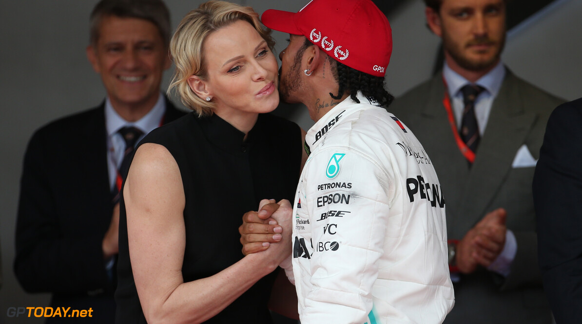 Formula One World Championship Princess Charlene of Monaco with Lewis Hamilton (GBR) Mercedes AMG F1 W10. 26.05.2019. Formula 1 World Championship, Rd 6, Monaco Grand Prix, Monte Carlo, Monaco, Race Day. - www.xpbimages.com, EMail: requests@xpbimages.com - copy of publication required for printed pictures. Every used picture is fee-liable. (C) Copyright: Batchelor / XPB Images Motor Racing - Formula One World Championship - Monaco Grand Prix - Sunday - Monte Carlo, Monaco XPB Images Monaco Monte Carlo  Formel1 Formel F1 Formula 1 Formula1 GP Grand Prix one May Monaco Monte Carlo Monte-Carlo Sunday 26 5 05 2019 Podium Portrait