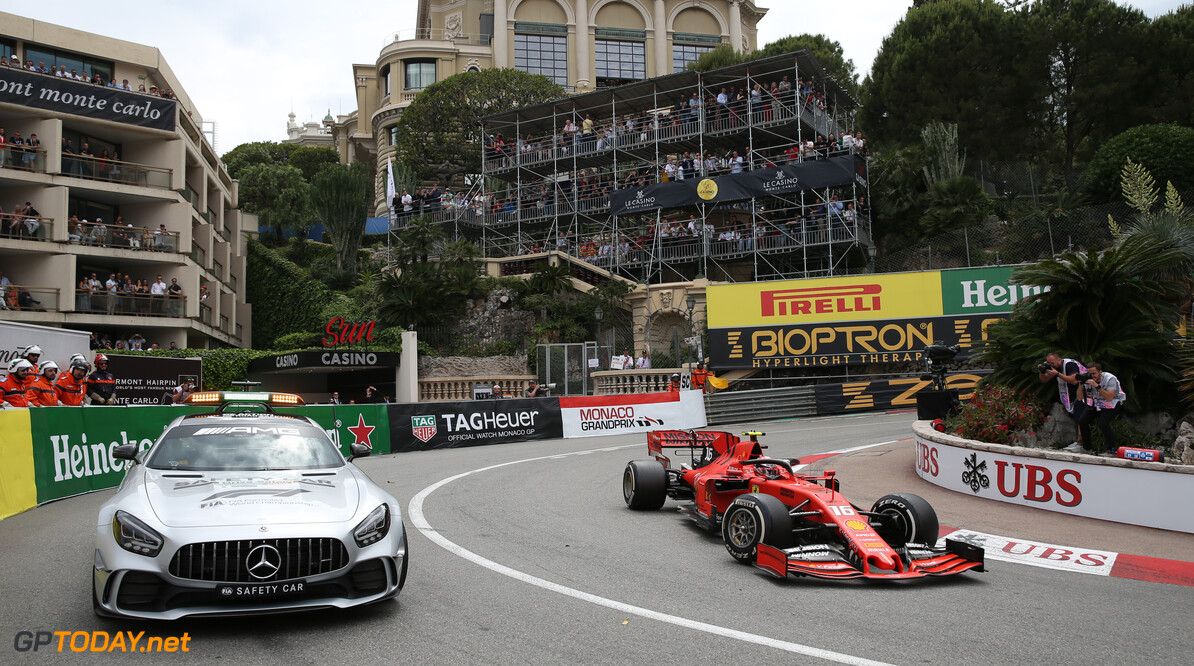 Formula One World Championship The safety car and Charles Leclerc (MON) Ferrari SF90. 26.05.2019. Formula 1 World Championship, Rd 6, Monaco Grand Prix, Monte Carlo, Monaco, Race Day. - www.xpbimages.com, EMail: requests@xpbimages.com - copy of publication required for printed pictures. Every used picture is fee-liable. (C) Copyright: Batchelor / XPB Images Motor Racing - Formula One World Championship - Monaco Grand Prix - Sunday - Monte Carlo, Monaco XPB Images Monaco Monte Carlo  Formel1 Formel F1 Formula 1 Formula1 GP Grand Prix one May Monaco Monte Carlo Monte-Carlo Sunday 26 5 05 2019 Race Action Track