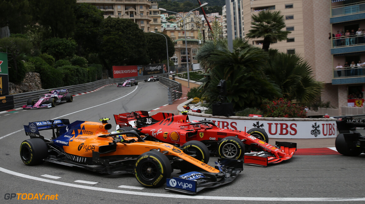 Formula One World Championship Lando Norris (GBR) McLaren MCL34 and Charles Leclerc (MON) Ferrari SF90. 26.05.2019. Formula 1 World Championship, Rd 6, Monaco Grand Prix, Monte Carlo, Monaco, Race Day. - www.xpbimages.com, EMail: requests@xpbimages.com - copy of publication required for printed pictures. Every used picture is fee-liable. (C) Copyright: Batchelor / XPB Images Motor Racing - Formula One World Championship - Monaco Grand Prix - Sunday - Monte Carlo, Monaco XPB Images Monaco Monte Carlo  Formel1 Formel F1 Formula 1 Formula1 GP Grand Prix one May Monaco Monte Carlo Monte-Carlo Sunday 26 5 05 2019 Race Action Track
