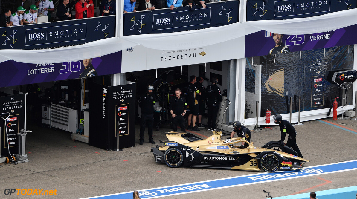 2019 Berlin E-prix BERLIN TEMPELHOF AIRPORT, GERMANY - MAY 25: Andre Lotterer (DEU), DS TECHEETAH, DS E-Tense FE19, retires from the race during the Berlin E-prix at Berlin Tempelhof Airport on May 25, 2019 in Berlin Tempelhof Airport, Germany. (Photo by Simon Galloway / Sutton Images) 2019 Berlin E-prix Simon Galloway  Germany  action ts-live electric FE open wheel