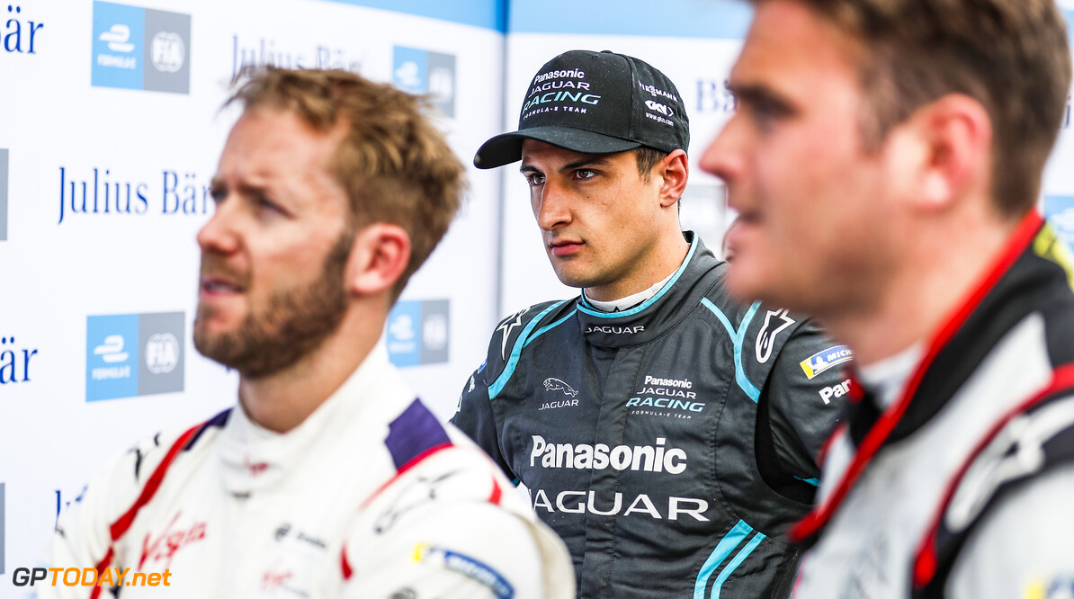 2019 Berlin E-prix BERLIN TEMPELHOF AIRPORT, GERMANY - MAY 25: Mitch Evans (NZL), Panasonic Jaguar Racing, with Sam Bird (GBR), Envision Virgin Racing, and Oliver Rowland (GBR), Nissan e.Dams during the Berlin E-prix at Berlin Tempelhof Airport on May 25, 2019 in Berlin Tempelhof Airport, Germany. (Photo by Sam Bloxham / LAT Images) 2019 Berlin E-prix Sam Bloxham  Germany  portrait electric FE open wheel