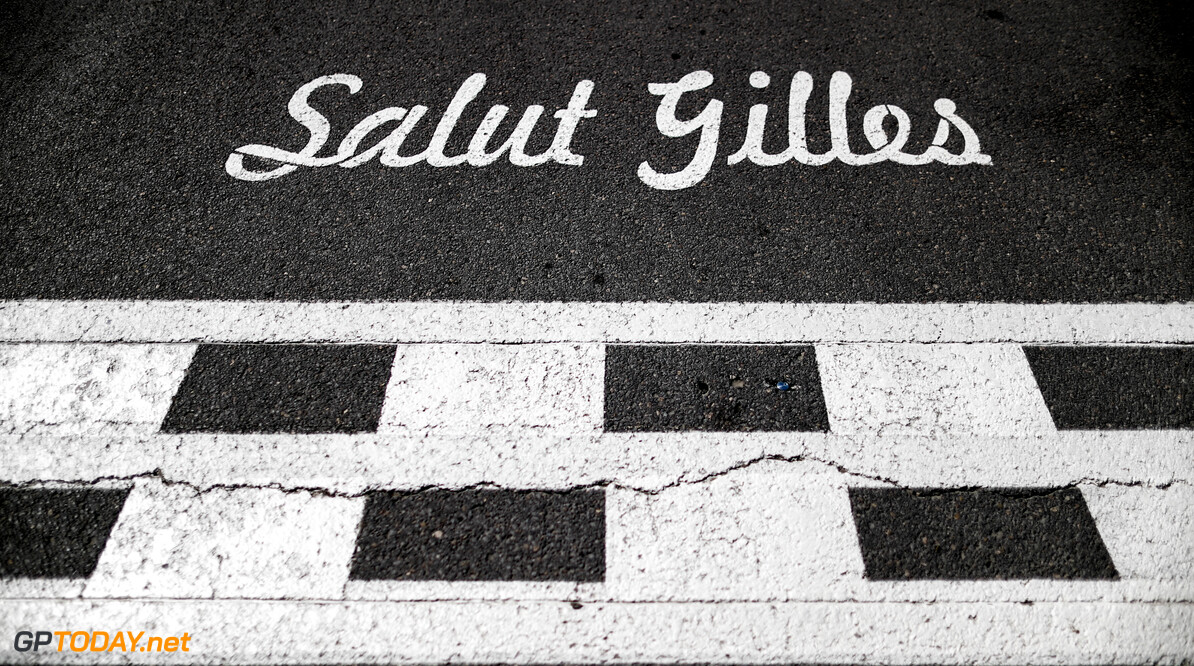 Salut Gilles text on the start finish line  Zak Mauger    Atmosphere circuit detail GP1907a GP1907a_M F1 Canada Canadian Montreal GP