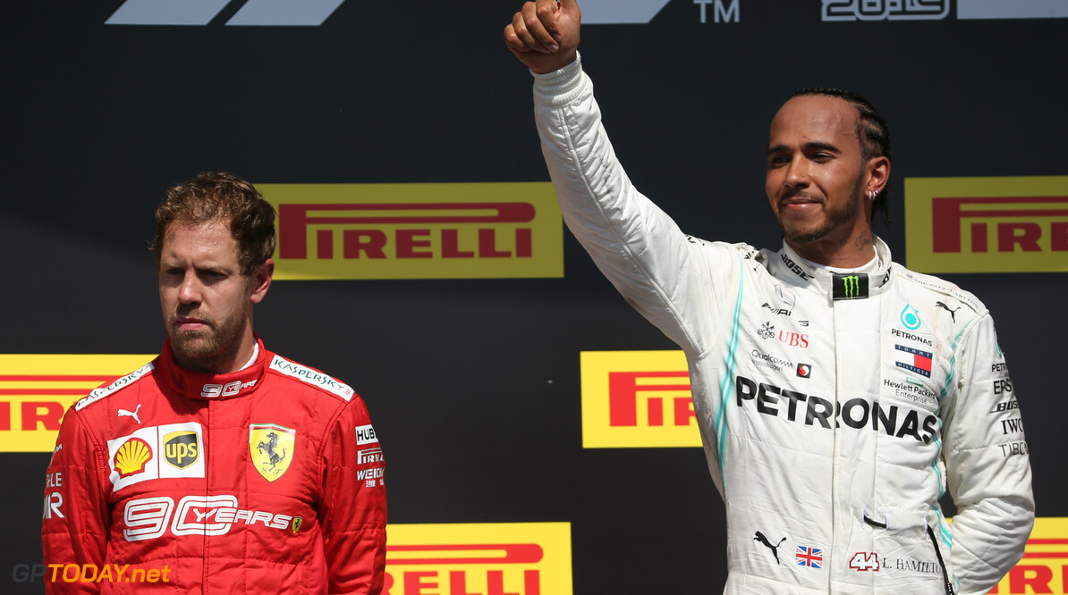 Formula One World Championship 1st place Lewis Hamilton (GBR) Mercedes AMG F1 W10 with 2nd place Sebastian Vettel (GER) Ferrari SF90. 09.06.2019. Formula 1 World Championship, Rd 7, Canadian Grand Prix, Montreal, Canada, Race Day. - www.xpbimages.com, EMail: requests@xpbimages.com - copy of publication required for printed pictures. Every used picture is fee-liable. (C) Copyright: Batchelor / XPB Images Motor Racing - Formula One World Championship - Canadian Grand Prix - Race Day - Montreal, Canada XPB Images Montreal Canada  Formel1 Formel F1 Formula 1 Formula1 GP Grand Prix one Canada Canadian Montreal Ille Notre Dame Circuit June Sunday 10 6 06 2018 Podium Portrait