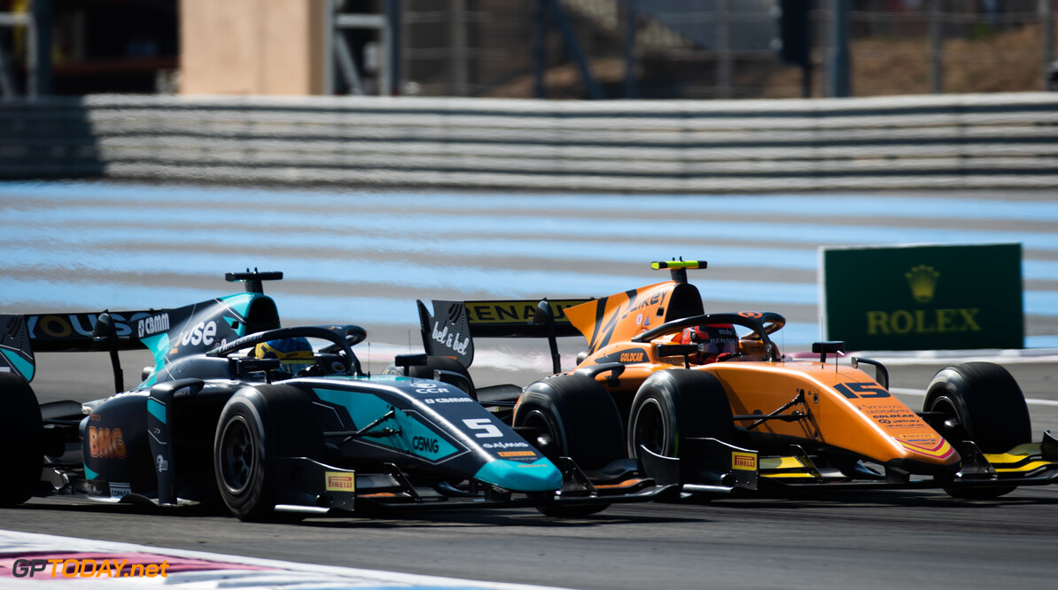 FIA Formula 2 CIRCUIT PAUL RICARD, FRANCE - JUNE 22: Sergio Sette Camara (BRA, DAMS) and Jack Aitken (GBR, CAMPOS RACING) during the Paul Ricard at Circuit Paul Ricard on June 22, 2019 in Circuit Paul Ricard, France. (Photo by Joe Portlock / LAT Images / FIA F2 Championship) FIA Formula 2 Joe Portlock  France  FIA Formula 2