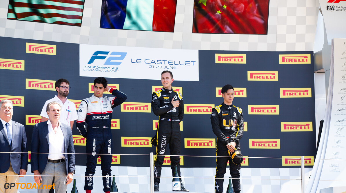 FIA Formula 2 CIRCUIT PAUL RICARD, FRANCE - JUNE 23: Anthoine Hubert (FRA, BWT ARDEN) Juan Manuel Correa (USA, SAUBER JUNIOR TEAM BY CHAROUZ) and Guanyu Zhou (CHN, UNI VIRTUOSI) during the Paul Ricard at Circuit Paul Ricard on June 23, 2019 in Circuit Paul Ricard, France. (Photo by Joe Portlock / LAT Images / FIA F2 Championship) FIA Formula 2 Joe Portlock  France  FIA Formula 2