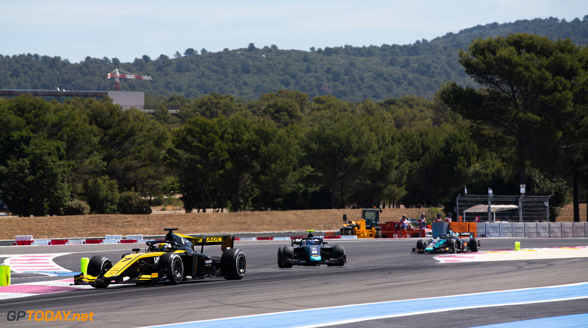 FIA Formula 2 CIRCUIT PAUL RICARD, FRANCE - JUNE 23: Guanyu Zhou (CHN, UNI VIRTUOSI) and Nicholas Latifi (CAN, DAMS) during the Paul Ricard at Circuit Paul Ricard on June 23, 2019 in Circuit Paul Ricard, France. (Photo by Joe Portlock / LAT Images / FIA F2 Championship) FIA Formula 2 Joe Portlock  France  FIA Formula 2