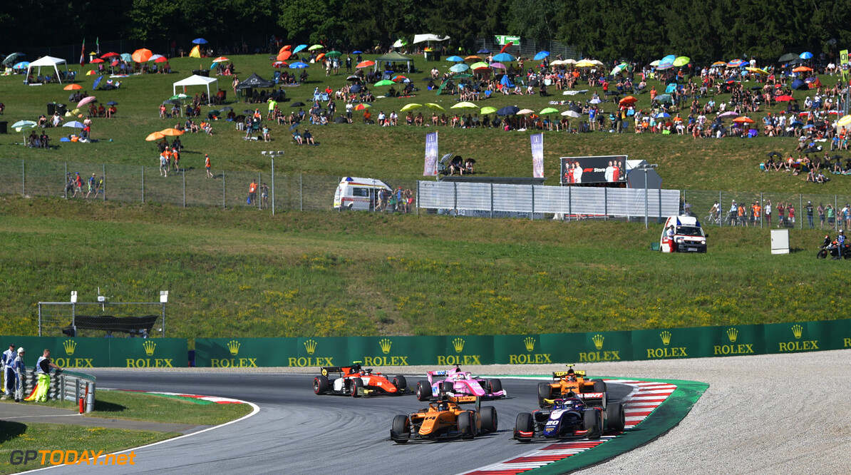 FIA Formula 2 RED BULL RING, AUSTRIA - JUNE 29: Arjun Maini (IND, CAMPOS RACING) and Nobuharu Matsushita (JPN, CARLIN) during the Spielberg at Red Bull Ring on June 29, 2019 in Red Bull Ring, Austria. (Photo by Jerry Andre / LAT Images / FIA F2 Championship) FIA Formula 2 Jerry Andre  Austria  action