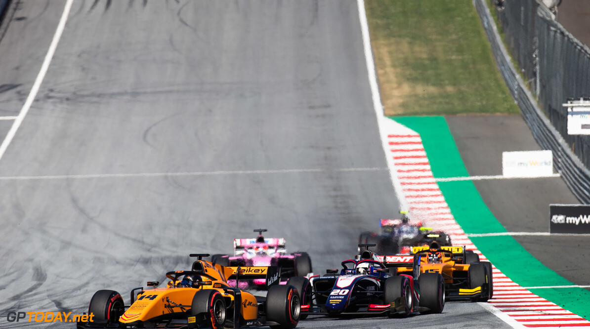 FIA Formula 2 RED BULL RING, AUSTRIA - JUNE 29: Arjun Maini (IND, CAMPOS RACING) and Giuliano Alesi (FRA, TRIDENT) during the Spielberg at Red Bull Ring on June 29, 2019 in Red Bull Ring, Austria. (Photo by Joe Portlock / LAT Images / FIA F2 Championship) FIA Formula 2 Joe Portlock  Austria  FIA Formula 2