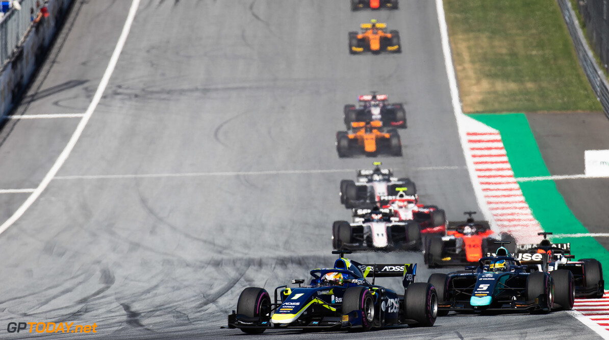 FIA Formula 2 RED BULL RING, AUSTRIA - JUNE 29: Louis Deletraz (CHE, CARLIN) and Sergio Sette Camara (BRA, DAMS) during the Spielberg at Red Bull Ring on June 29, 2019 in Red Bull Ring, Austria. (Photo by Joe Portlock / LAT Images / FIA F2 Championship) FIA Formula 2 Joe Portlock  Austria  FIA Formula 2