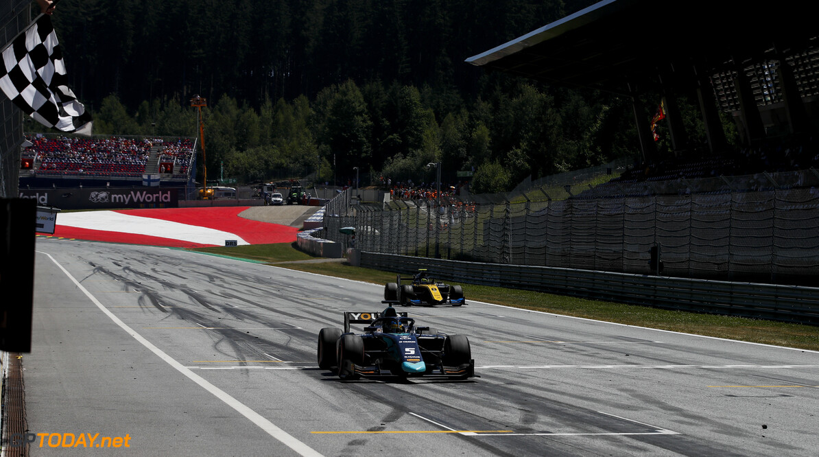 FIA Formula 2 RED BULL RING, AUSTRIA - JUNE 30: Race winner Sergio Sette Camara (BRA, DAMS) crosses the finish line followed by Luca Ghiotto (ITA, UNI VIRTUOSI) during the Spielberg at Red Bull Ring on June 30, 2019 in Red Bull Ring, Austria. (Photo by Joe Portlock / LAT Images / FIA F2 Championship) FIA Formula 2 Joe Portlock  Austria  action Checkered flag ts-live