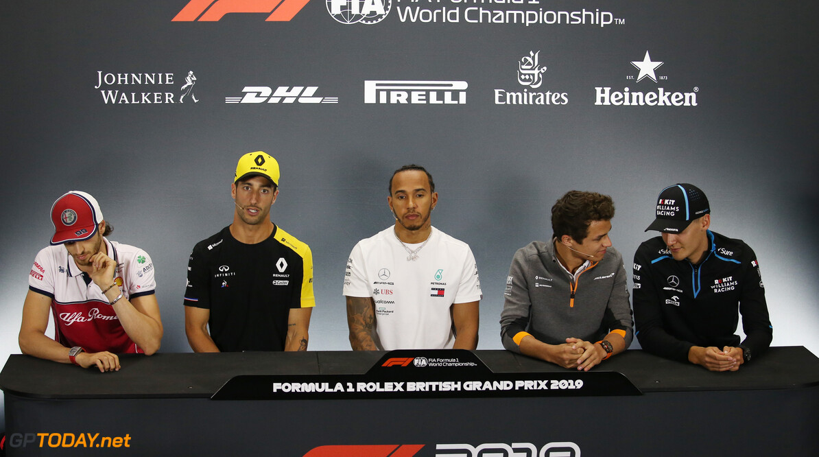 Formula One World Championship Antonio Giovinazzi (ITA), Alfa Romeo Racing, Daniel Ricciardo (AUS), Renault F1 Team, Lewis Hamilton (GBR), Mercedes AMG F1, Lando Norris (GBR), McLaren F1 Team and George Russell (GBR), Williams F1 Team  11.07.2019. Formula 1 World Championship, Rd 10, British Grand Prix, Silverstone, England, Preparation Day. - www.xpbimages.com, EMail: requests@xpbimages.com - copy of publication required for printed pictures. Every used picture is fee-liable. (C) Copyright: Charniaux / XPB Images Motor Racing - Formula One World Championship - British Grand Prix - Preparation Day - Silverstone, England XPB Images Silverstone England  Formel1 Formel F1 Formula 1 Formula1 GP Grand Prix one Thursday Portrait Circuit Silverstone England Britain British United Kingdom UK 11 07 7 2019