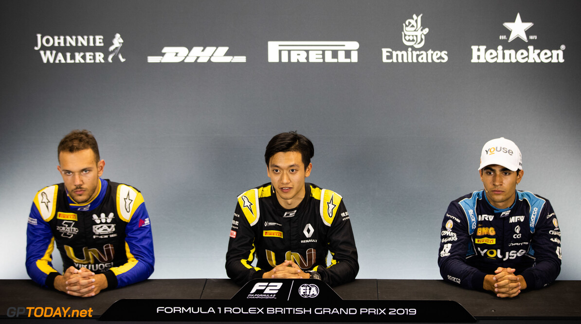 FIA Formula 2 SILVERSTONE, UNITED KINGDOM - JULY 12: Luca Ghiotto (ITA, UNI VIRTUOSI) Guanyu Zhou (CHN, UNI VIRTUOSI) and Sergio Sette Camara (BRA, DAMS) during the Silverstone at Silverstone on July 12, 2019 in Silverstone, United Kingdom. (Photo by Joe Portlock / LAT Images / FIA F2 Championship) FIA Formula 2 Joe Portlock  United Kingdom  FIA Formula 2