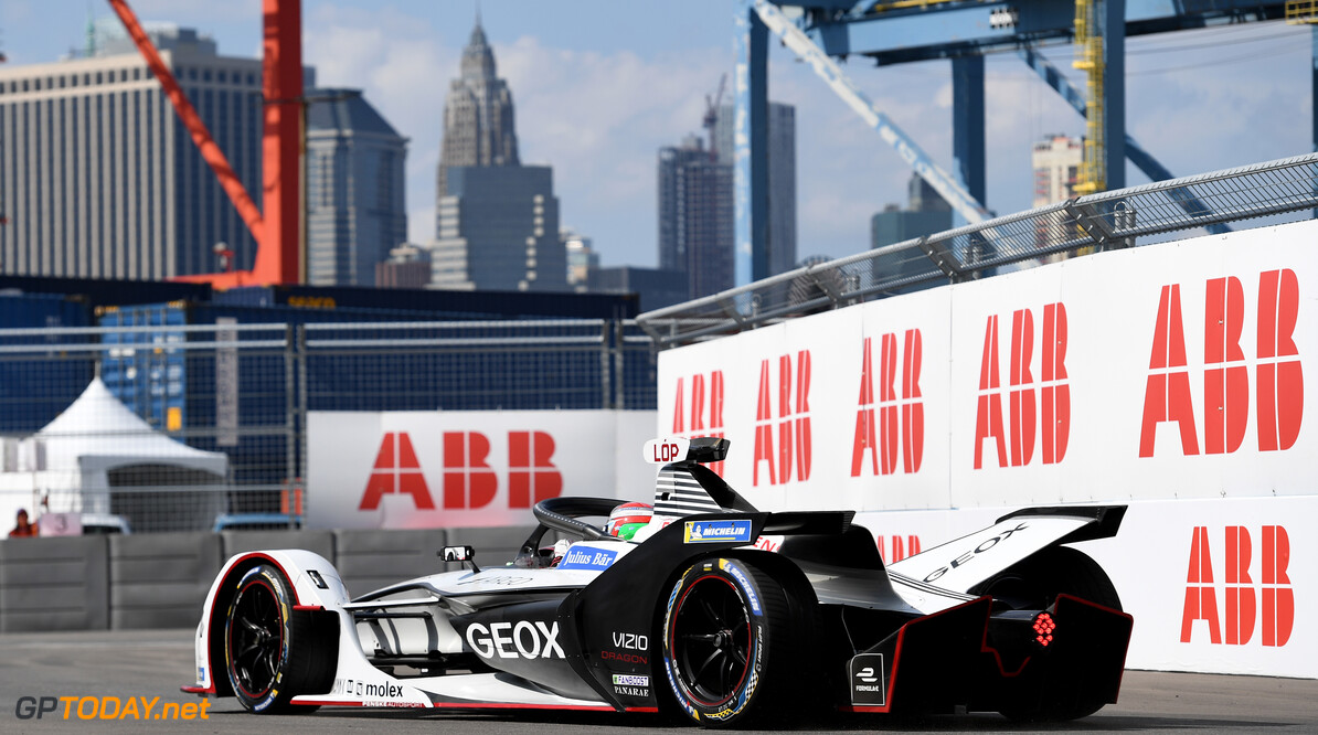 2019 New York City E-prix I BROOKLYN STREET CIRCUIT, UNITED STATES OF AMERICA - JULY 12: Jose Maria Lopez (ARG), GEOX Dragon Racing, Penske EV-3 during the New York City E-prix I at Brooklyn Street Circuit on July 12, 2019 in Brooklyn Street Circuit, United States of America. (Photo by Sam Bagnall / LAT Images) 2019 New York City E-prix I Sam Bagnall New York United States of America  action rear electric FE open wheel