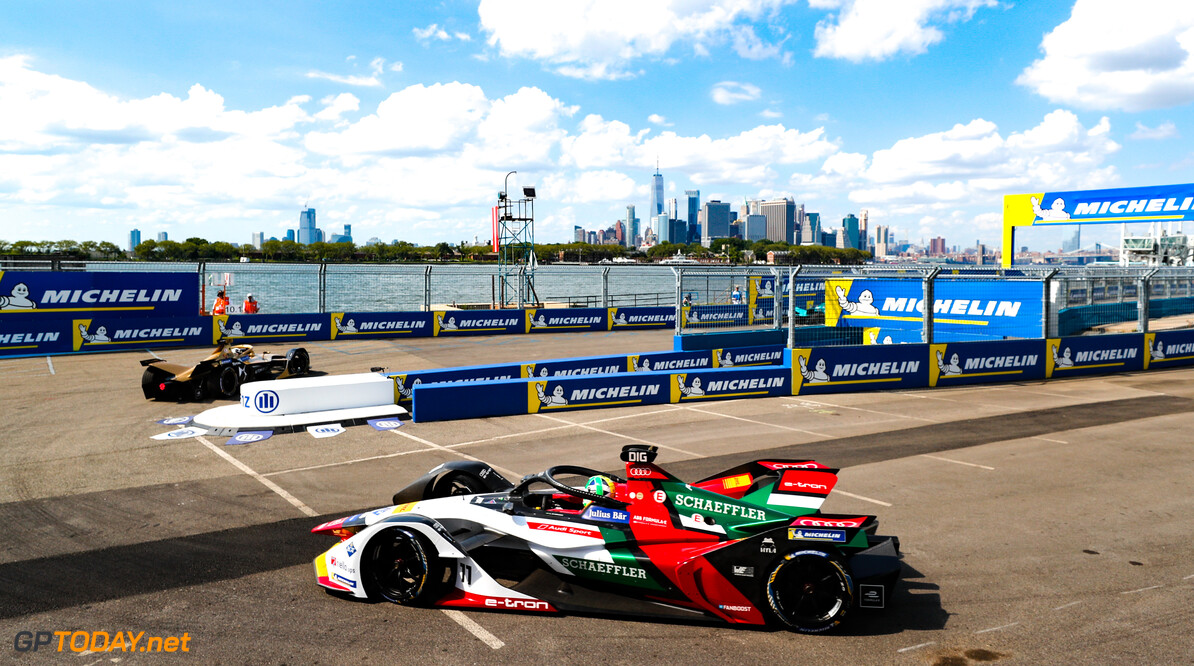 2019 New York City E-prix I BROOKLYN STREET CIRCUIT, UNITED STATES OF AMERICA - JULY 12: Lucas Di Grassi (BRA), Audi Sport ABT Schaeffler, Audi e-tron FE05 during the New York City E-prix I at Brooklyn Street Circuit on July 12, 2019 in Brooklyn Street Circuit, United States of America. (Photo by Steven Tee / LAT Images) 2019 New York City E-prix I Steven Tee  United States of America  action electric FE open wheel