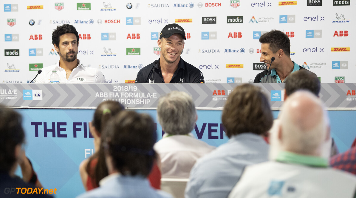 2019 New York City E-prix I BROOKLYN STREET CIRCUIT, UNITED STATES OF AMERICA - JULY 12: Lucas Di Grassi (BRA), Audi Sport ABT Schaeffler, Andre Lotterer (DEU), DS TECHEETAH and Mitch Evans (NZL), Panasonic Jaguar Racing in the press conference during the New York City E-prix I at Brooklyn Street Circuit on July 12, 2019 in Brooklyn Street Circuit, United States of America. (Photo by Alastair Staley / LAT Images) 2019 New York City E-prix I Alastair Staley  United States of America  portrait electric FE open wheel