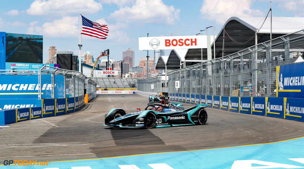 2019 New York City E-prix I BROOKLYN STREET CIRCUIT, UNITED STATES OF AMERICA - JULY 12: Mitch Evans (NZL), Panasonic Jaguar Racing, Jaguar I-Type 3 during the New York City E-prix I at Brooklyn Street Circuit on July 12, 2019 in Brooklyn Street Circuit, United States of America. (Photo by Steven Tee / LAT Images) 2019 New York City E-prix I Steven Tee  United States of America  action electric FE open wheel