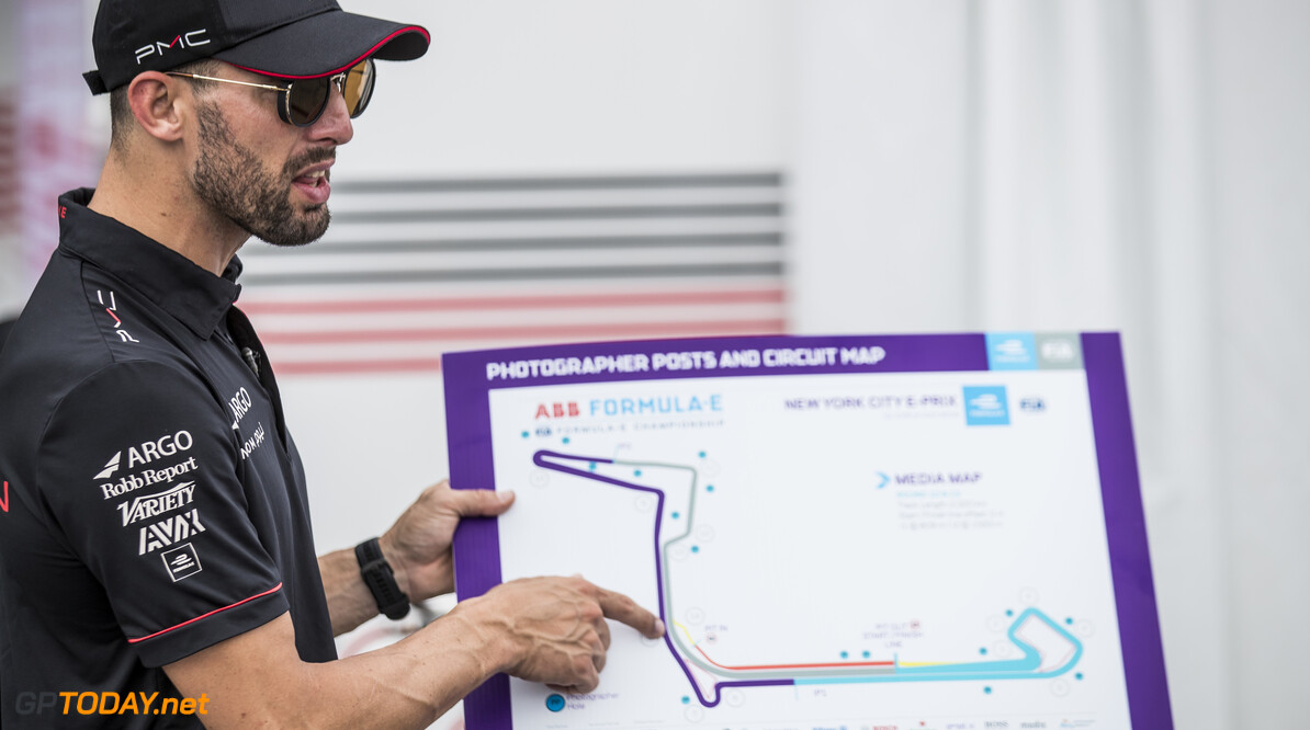 2019 New York City E-prix I BROOKLYN STREET CIRCUIT, UNITED STATES OF AMERICA - JULY 12: Jose Maria Lopez (ARG), GEOX Dragon Racing points at track map during the New York City E-prix I at Brooklyn Street Circuit on July 12, 2019 in Brooklyn Street Circuit, United States of America. (Photo by Sam Bloxham / LAT Images) 2019 New York City E-prix I Sam Bloxham  United States of America  portrait electric FE open wheel