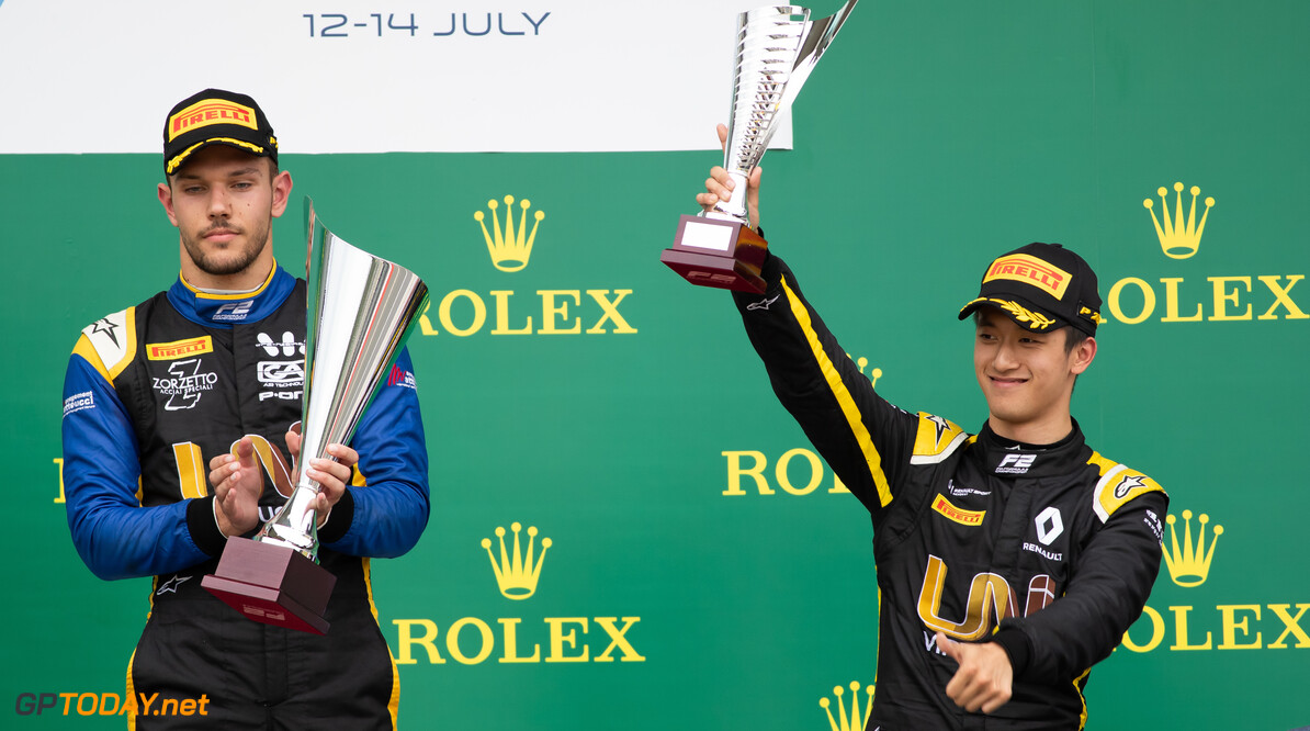 FIA Formula 2 SILVERSTONE, UNITED KINGDOM - JULY 13: Luca Ghiotto (ITA, UNI VIRTUOSI) , Guanyu Zhou (CHN, UNI VIRTUOSI) during the Silverstone at Silverstone on July 13, 2019 in Silverstone, United Kingdom. (Photo by Colin McMaster) FIA Formula 2 Colin McMaster  United Kingdom  Podium