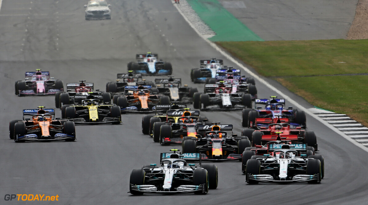 Formula One World Championship Start of the race, Valtteri Bottas (FIN), Mercedes AMG F1 and Lewis Hamilton (GBR), Mercedes AMG F1   14.07.2019. Formula 1 World Championship, Rd 10, British Grand Prix, Silverstone, England, Race Day. - www.xpbimages.com, EMail: requests@xpbimages.com - copy of publication required for printed pictures. Every used picture is fee-liable. (C) Copyright: Charniaux / XPB Images Motor Racing - Formula One World Championship - British Grand Prix - Race Day - Silverstone, England XPB Images Silverstone England  Formel1 Formel F1 Formula 1 Formula1 GP Grand Prix one Circuit Silverstone England Britain British United Kingdom UK Sunday 14 07 7 2019 Race Action Track