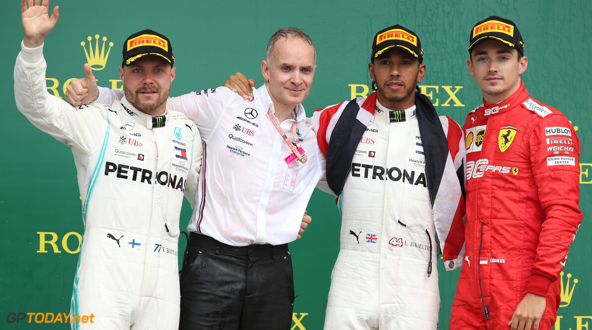 Formula One World Championship 1st place Lewis Hamilton (GBR) Mercedes AMG F1 W10, 2nd place Valtteri Bottas (FIN) Mercedes AMG F1 W10 and 3rd place Charles Leclerc (MON) Ferrari SF90. 14.07.2019. Formula 1 World Championship, Rd 10, British Grand Prix, Silverstone, England, Race Day. - www.xpbimages.com, EMail: requests@xpbimages.com - copy of publication required for printed pictures. Every used picture is fee-liable. (C) Copyright: Batchelor / XPB Images Motor Racing - Formula One World Championship - British Grand Prix - Race Day - Silverstone, England XPB Images Silverstone England  Formel1 Formel F1 Formula 1 Formula1 GP Grand Prix one Circuit Silverstone England Britain British United Kingdom UK Sunday 14 07 7 2019 Podium Portrait