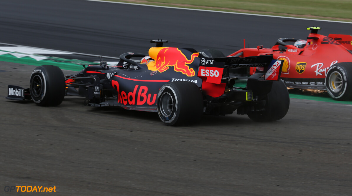 Formula One World Championship Charles Leclerc (MON) Ferrari SF90 and Max Verstappen (NLD) Red Bull Racing RB15. 14.07.2019. Formula 1 World Championship, Rd 10, British Grand Prix, Silverstone, England, Race Day. - www.xpbimages.com, EMail: requests@xpbimages.com - copy of publication required for printed pictures. Every used picture is fee-liable. (C) Copyright: Batchelor / XPB Images Motor Racing - Formula One World Championship - British Grand Prix - Race Day - Silverstone, England XPB Images Silverstone England  Formel1 Formel F1 Formula 1 Formula1 GP Grand Prix one Circuit Silverstone England Britain British United Kingdom UK Sunday 14 07 7 2019 Race Action Track