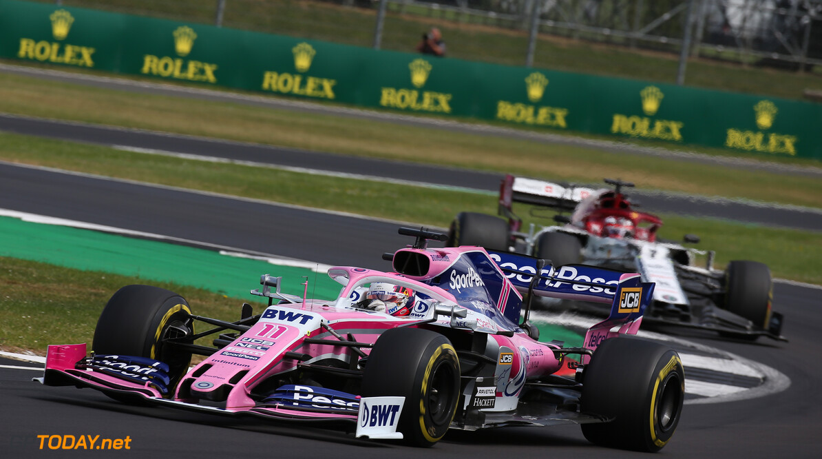 Formula One World Championship Sergio Perez (MEX) Racing Point F1 Team RP19. 14.07.2019. Formula 1 World Championship, Rd 10, British Grand Prix, Silverstone, England, Race Day. - www.xpbimages.com, EMail: requests@xpbimages.com - copy of publication required for printed pictures. Every used picture is fee-liable. (C) Copyright: Batchelor / XPB Images Motor Racing - Formula One World Championship - British Grand Prix - Race Day - Silverstone, England XPB Images Silverstone England  Formel1 Formel F1 Formula 1 Formula1 GP Grand Prix one Circuit Silverstone England Britain British United Kingdom UK Sunday 14 07 7 2019 Race Action Track
