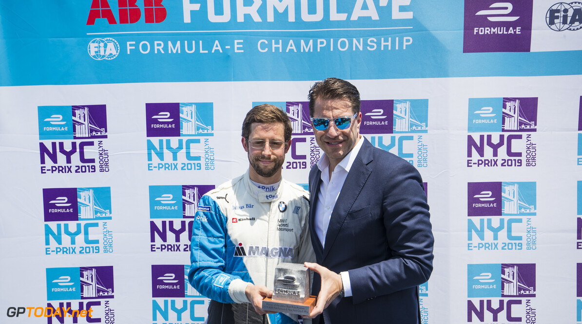 2019 New York City E-prix II BROOKLYN STREET CIRCUIT, UNITED STATES OF AMERICA - JULY 14: Alexander Sims (GBR) BMW I Andretti Motorsports, accepts the pole position award from Marco Parroni, Head of Global Sponsoring and Managing Director SA Julius Baer during the New York City E-prix II at Brooklyn Street Circuit on July 14, 2019 in Brooklyn Street Circuit, United States of America. (Photo by Sam Bloxham / LAT Images) 2019 New York City E-prix II Sam Bloxham  United States of America  portrait ts-live electric FE open wheel