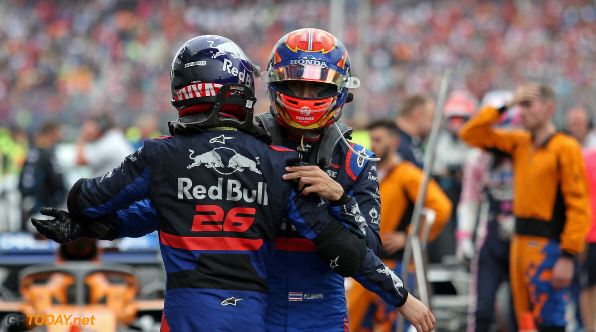 Formula One World Championship Daniil Kvyat (RUS), Scuderia Toro Rosso and Alexander Albon (THA), Scuderia Toro Rosso  28.07.2019. Formula 1 World Championship, Rd 11, German Grand Prix, Hockenheim, Germany, Race Day. - www.xpbimages.com, EMail: requests@xpbimages.com - copy of publication required for printed pictures. Every used picture is fee-liable. (C) Copyright: Charniaux / XPB Images Motor Racing - Formula One World Championship - German Grand Prix - Race Day - Hockenheim, Germany XPB Images Hockenheim Germany  Formel1 Formel F1 Formula 1 Formula1 GP Grand Prix one Circuit July German Germany Hockenheim Hockenheimring Sunday 28 07 7 2019 Podium Portrait