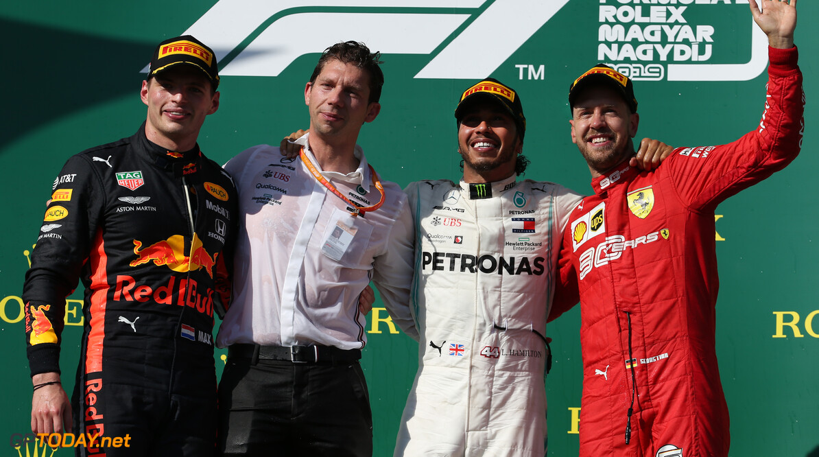 Formula One World Championship 1st place Lewis Hamilton (GBR) Mercedes AMG F1 W10, 2nd place Max Verstappen (NLD) Red Bull Racing RB15 and 3rd place Sebastian Vettel (GER) Ferrari SF90. 04.08.2019. Formula 1 World Championship, Rd 12, Hungarian Grand Prix, Budapest, Hungary, Race Day. - www.xpbimages.com, EMail: requests@xpbimages.com - copy of publication required for printed pictures. Every used picture is fee-liable. (C) Copyright: Batchelor / XPB Images Motor Racing - Formula One World Championship - Hungarian Grand Prix - Race Day - Budapest, Hungary XPB Images Budapest Hungary  Formel1 Formel F1 Formula 1 Formula1 GP Grand Prix one Circuit Hungary Hungarian Hungaroring Budapest Sunday 04 4 08 8 2019 August Podium Portrait