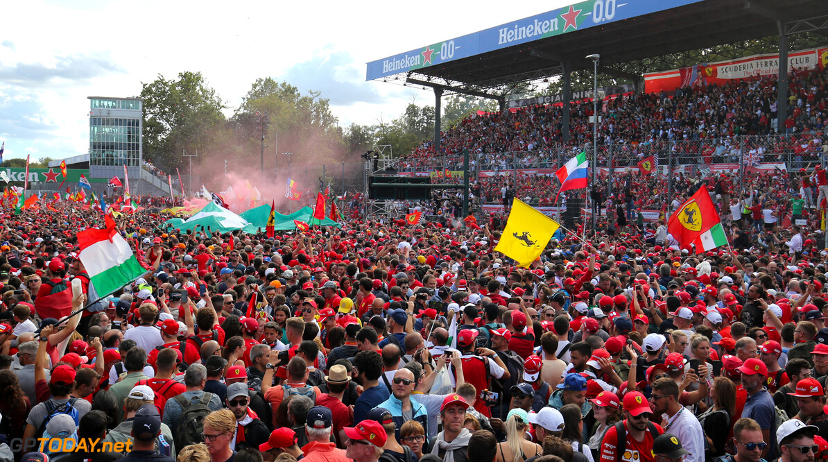 Formula One World Championship Podium atmosphere 08.09.2019. Formula 1 World Championship, Rd 14, Italian Grand Prix, Monza, Italy, Race Day. - www.xpbimages.com, EMail: requests@xpbimages.com - copy of publication required for printed pictures. Every used picture is fee-liable. (C) Copyright: Charniaux / XPB Images Motor Racing - Formula One World Championship - Italian Grand Prix - Race Day - Monza, Italy XPB Images Monza Italy  Formel1 Formel F1 Formula 1 Formula1 GP Grand Prix one Autodromo di Monza September Sunday 08 8 09 9 2019 Podium Portrait