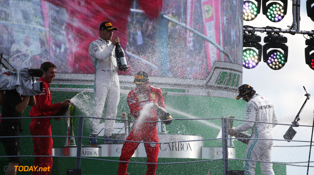 Formula One World Championship Charles Leclerc (FRA), Scuderia Ferrari , Lewis Hamilton (GBR), Mercedes AMG F1  and Valtteri Bottas (FIN), Mercedes AMG F1  08.09.2019. Formula 1 World Championship, Rd 14, Italian Grand Prix, Monza, Italy, Race Day. - www.xpbimages.com, EMail: requests@xpbimages.com - copy of publication required for printed pictures. Every used picture is fee-liable. (C) Copyright: Charniaux / XPB Images Motor Racing - Formula One World Championship - Italian Grand Prix - Race Day - Monza, Italy XPB Images Monza Italy  Formel1 Formel F1 Formula 1 Formula1 GP Grand Prix one Autodromo di Monza September Sunday 08 8 09 9 2019 Podium Portrait