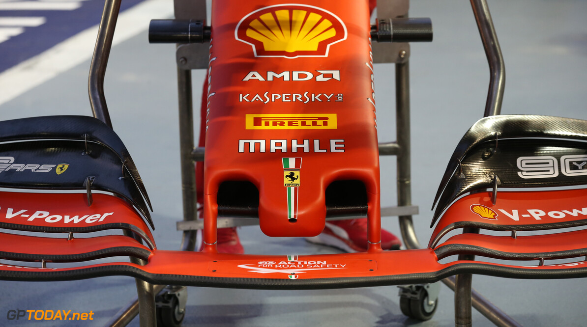 Formula One World Championship Ferrari front wing and nose cone. 19.09.2019. Formula 1 World Championship, Rd 15, Singapore Grand Prix, Marina Bay Street Circuit, Singapore, Preparation Day. - www.xpbimages.com, EMail: requests@xpbimages.com - copy of publication required for printed pictures. Every used picture is fee-liable. (C) Copyright: Batchelor / XPB Images Motor Racing - Formula One World Championship - Singapore Grand Prix - Preparation Day - Singapore, Singapore xpb.cc Singapore Singapore  Formel1 Formel F1 Formula 1 Formula1 GP Grand Prix one Marina Bay Street Circuit September Thursday Singapore 19 9 09 2019 Portrait tech technical
