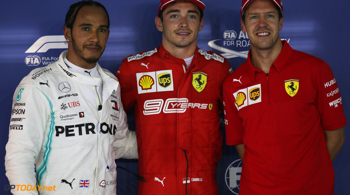 Formula One World Championship Pole position for Charles Leclerc (MON) Ferrari SF90, 2nd for Lewis Hamilton (GBR) Mercedes AMG F1 W10 and 3rd Sebastian Vettel (GER) Ferrari SF90. 21.09.2019. Formula 1 World Championship, Rd 15, Singapore Grand Prix, Marina Bay Street Circuit, Singapore, Qualifying Day. - www.xpbimages.com, EMail: requests@xpbimages.com - copy of publication required for printed pictures. Every used picture is fee-liable. (C) Copyright: Batchelor / XPB Images Motor Racing - Formula One World Championship - Singapore Grand Prix - Qualifying Day - Singapore, Singapore XPB Images Singapore Singapore  Formel1 Formel F1 Formula 1 Formula1 GP Grand Prix one Marina Bay Street Circuit September Singapore Saturday 21 9 09 2019 Qualifying Portrait