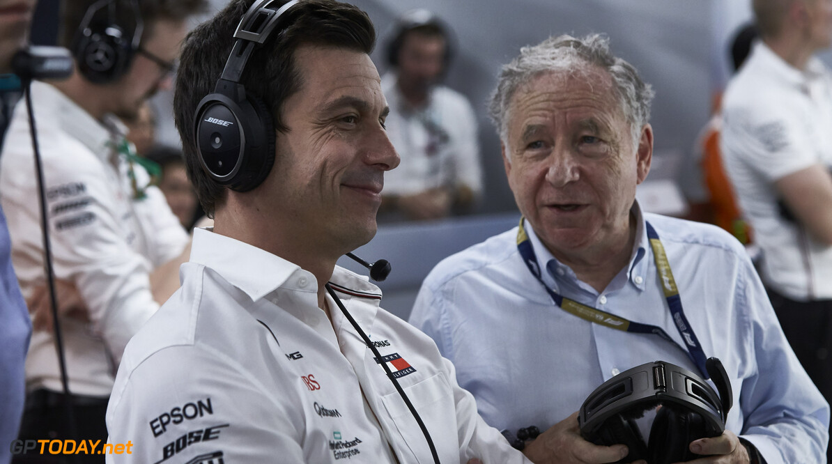 2019 Singapore GP SINGAPORE STREET CIRCUIT, SINGAPORE - SEPTEMBER 21: Toto Wolff, Executive Director (Business), Mercedes AMG, watches Qualifying with Jean Todt, President, FIA during the Singapore GP at Singapore Street Circuit on September 21, 2019 in Singapore Street Circuit, Singapore. (Photo by Motorsport Images) 2019 Singapore GP Steve Eherington  Singapore  Portrait