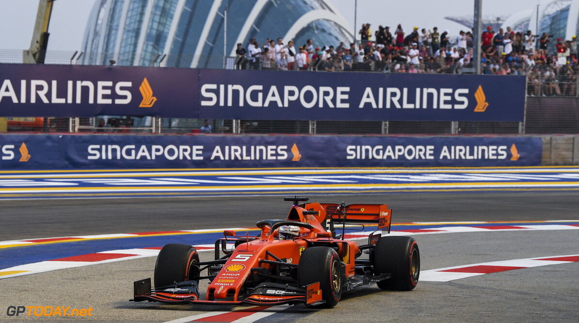 2019 Singapore GP SINGAPORE STREET CIRCUIT, SINGAPORE - SEPTEMBER 21: Sebastian Vettel, Ferrari SF90 during the Singapore GP at Singapore Street Circuit on September 21, 2019 in Singapore Street Circuit, Singapore. (Photo by Mark Sutton / Motorsport Images) 2019 Singapore GP Mark Sutton  Singapore  action ts-live