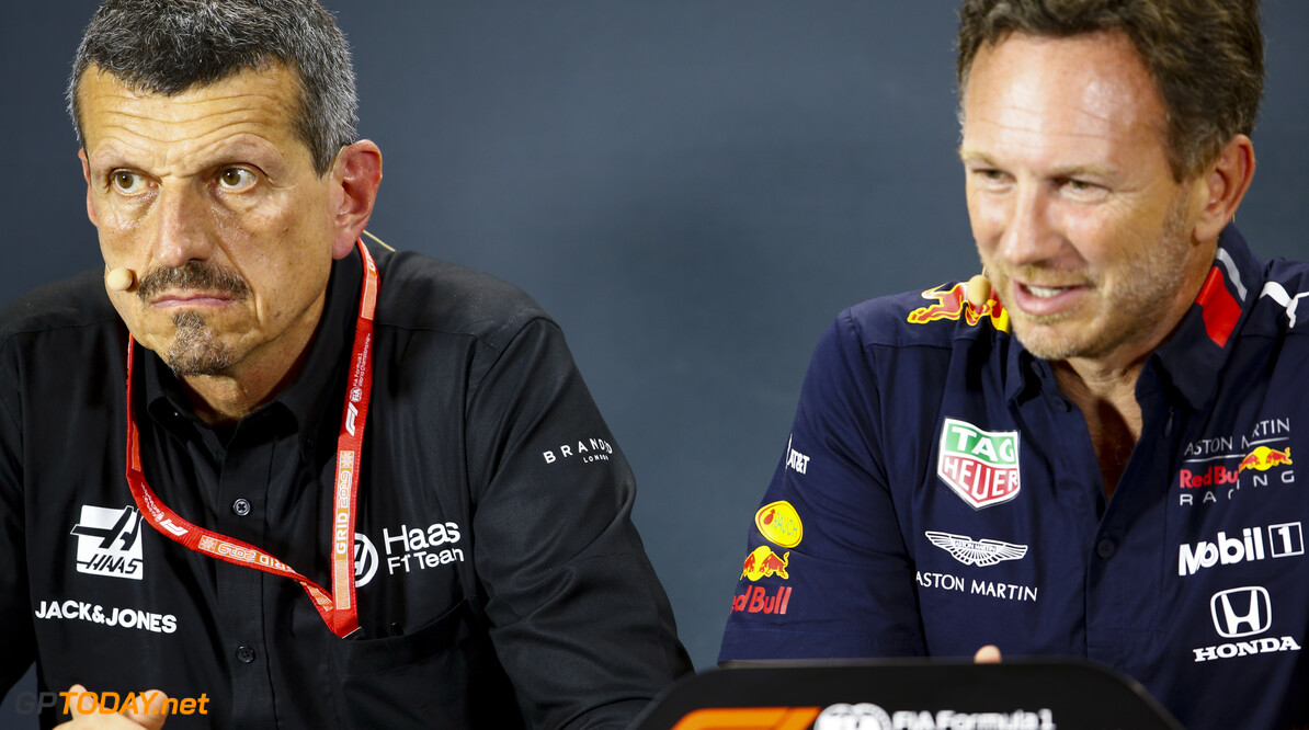 2019 Singapore GP SINGAPORE STREET CIRCUIT, SINGAPORE - SEPTEMBER 20: Guenther Steiner, Team Principal, Haas F1, and Christian Horner, Team Principal, Red Bull Racing, in the Team Principals' Press Conference during the Singapore GP at Singapore Street Circuit on September 20, 2019 in Singapore Street Circuit, Singapore. (Photo by Andy Hone / Motorsport Images) 2019 Singapore GP Andy Hone  Singapore  Portrait Press Conferences