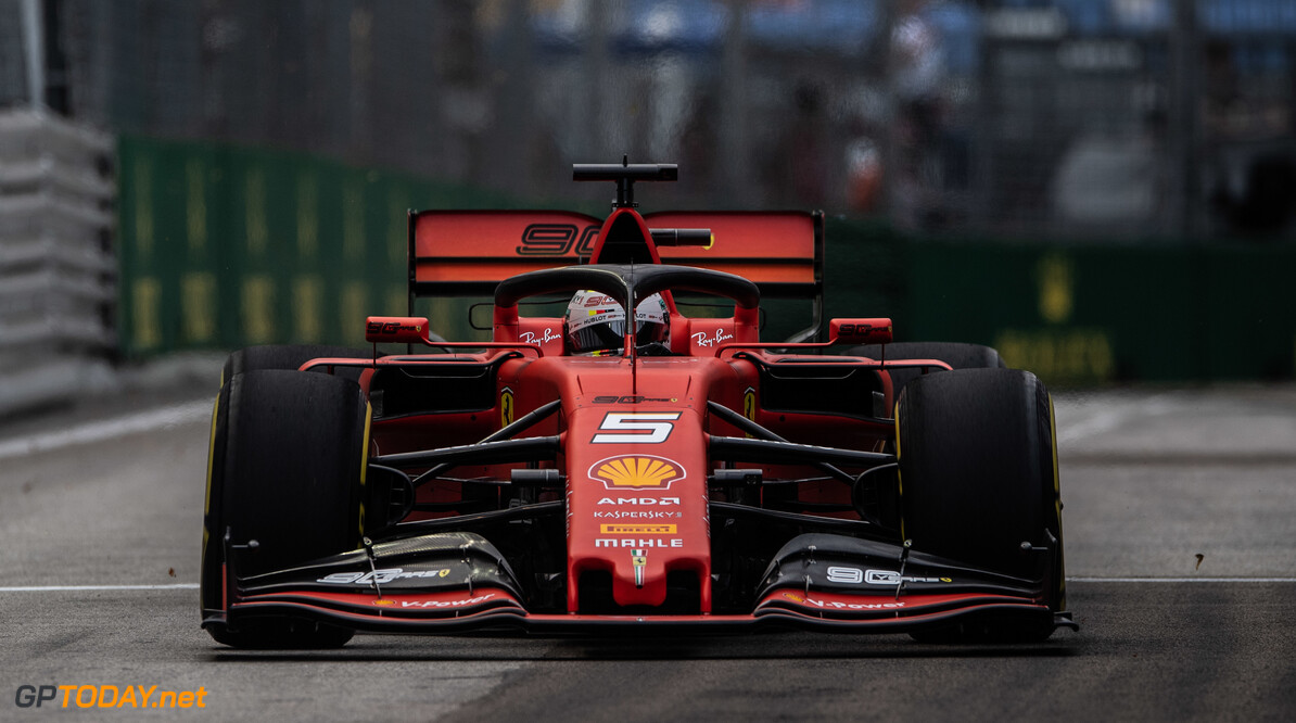 2019 Singapore GP SINGAPORE STREET CIRCUIT, SINGAPORE - SEPTEMBER 20: Sebastian Vettel, Ferrari SF90 during the Singapore GP at Singapore Street Circuit on September 20, 2019 in Singapore Street Circuit, Singapore. (Photo by Simon Galloway / Motorsport Images) 2019 Singapore GP Simon Galloway  Singapore  Action