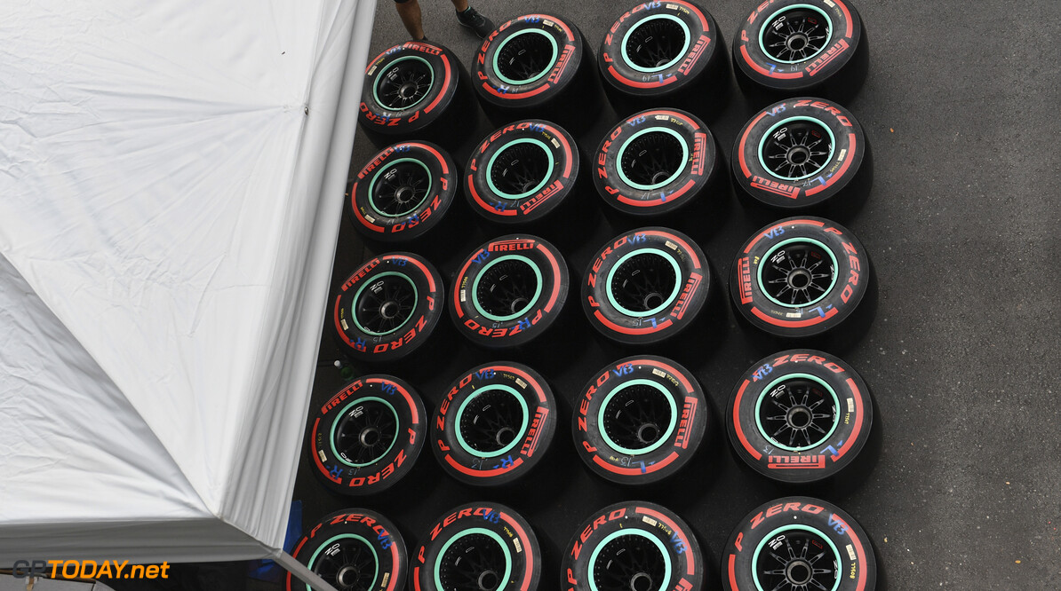 2019 Singapore GP SINGAPORE STREET CIRCUIT, SINGAPORE - SEPTEMBER 18: Pirelli tyres in the paddock during the Singapore GP at Singapore Street Circuit on September 18, 2019 in Singapore Street Circuit, Singapore. (Photo by Mark Sutton / Motorsport Images) 2019 Singapore GP Mark Sutton  Singapore