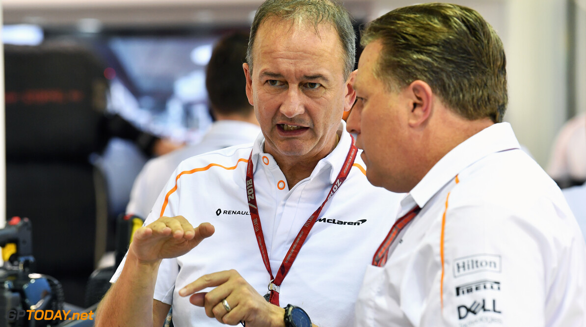 Formula One World Championship Jonathan Neale, McLaren Managing Director and Zak Brown, McLaren Racing CEO at Formula One World Championship, Rd15, Singapore Grand Prix, Qualifying, Marina Bay Circuit, Singapore, Saturday 15 September 2018. Singapore Grand Prix Qualifying  Marina Bay Singapore  F1 Formula 1 GP portrait