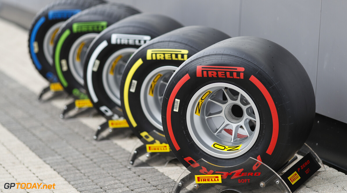 2019 Russian GP SOCHI AUTODROM, RUSSIAN FEDERATION - SEPTEMBER 26: Pirelli tyres in the paddock during the Russian GP at Sochi Autodrom on September 26, 2019 in Sochi Autodrom, Russian Federation. (Photo by Zak Mauger / LAT Images) 2019 Russian GP Zak Mauger  Russian Federation