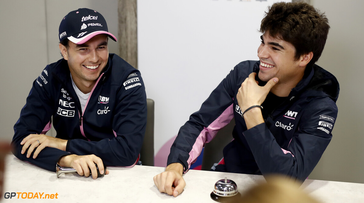 Lance Stroll, Racing Point and Sergio Perez, Racing Point filming ???Grill the Grid??? with F1  Glenn Dunbar    Lance Stroll Sergio Perez F1 media ???Grill the Grid??? GP19016a GP19016a_M F1 GP Russia Russian Sochi