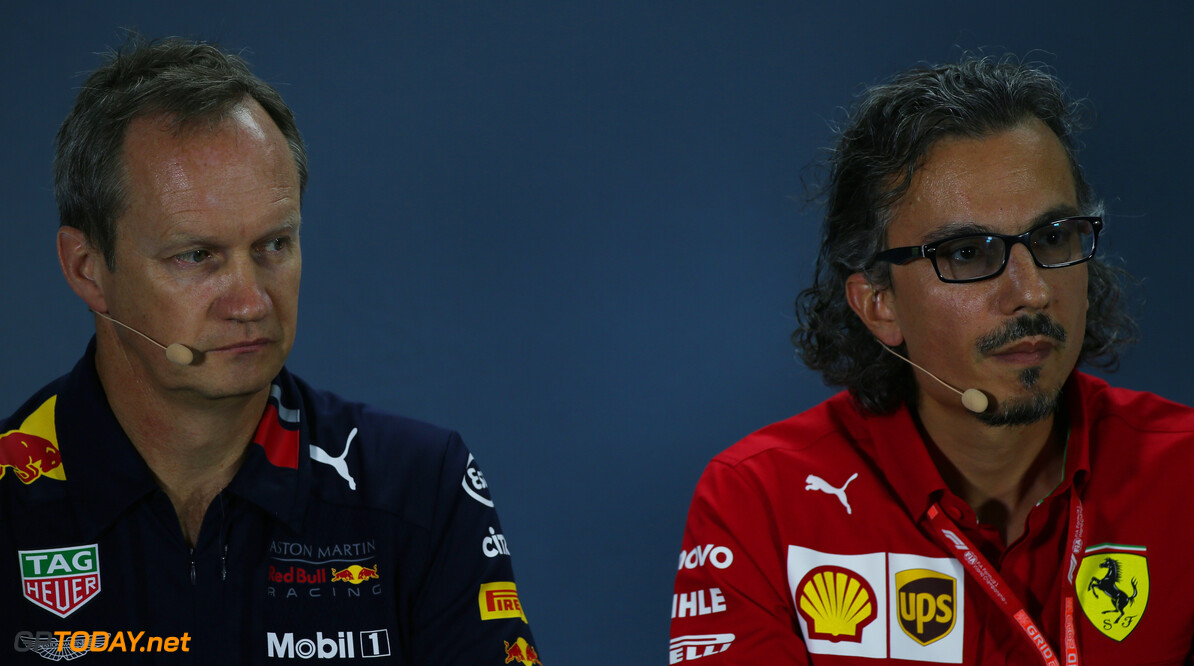 Formula One World Championship Paul Monaghan (GBR) Red Bull Racing Chief Engineer and Laurent Mekies (FRA) Ferrari Sporting Director, Press conference. 27.09.2019. Formula 1 World Championship, Rd 16, Russian Grand Prix, Sochi Autodrom, Sochi, Russia, Practice Day. - www.xpbimages.com, EMail: requests@xpbimages.com - copy of publication required for printed pictures. Every used picture is fee-liable. (C) Copyright: Batchelor / XPB Images Motor Racing - Formula One World Championship - Russian Grand Prix - Practice Day - Sochi, Russia XPB Images Sochi Russia  Formel1 Formel F1 Formula 1 Formula1 GP Grand Prix one Russia Russian Sochi Sochi Autodrom Sochi Autodrome Autodrome Autodrom Friday September 28 9 09 2018 Portrait