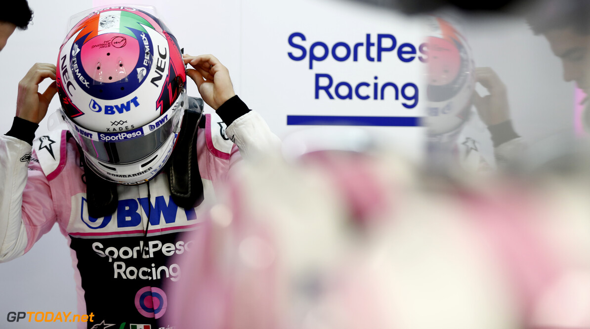 Sergio Perez, Racing Point gets ready for FP2 in the garage  Glenn Dunbar    FP2 practice garage GP19016b GP19016b_M F1 GP Russia Russian Sochi