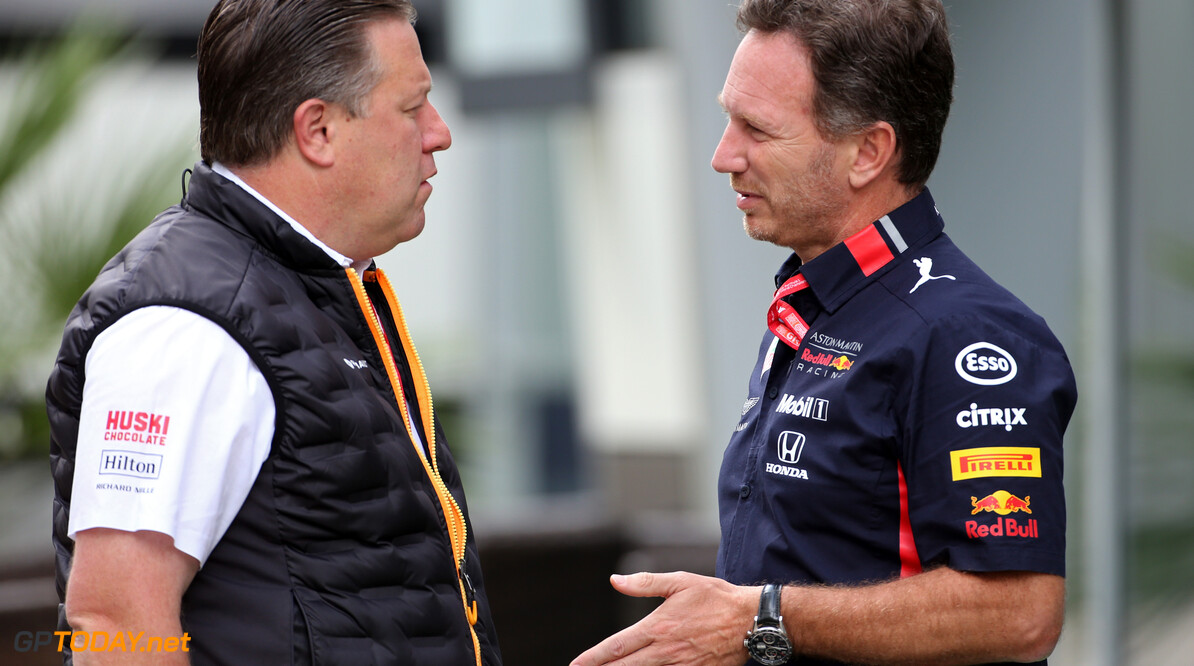 Formula One World Championship Zak Brown (USA), McLaren F1 Team Executive Director and Christian Horner (GBR), Red Bull Racing Team Principal   28.09.2019. Formula 1 World Championship, Rd 16, Russian Grand Prix, Sochi Autodrom, Sochi, Russia, Qualifying Day. - www.xpbimages.com, EMail: requests@xpbimages.com - copy of publication required for printed pictures. Every used picture is fee-liable. (C) Copyright: Charniaux / XPB Images Motor Racing - Formula One World Championship - Russian Grand Prix - Qualifying Day - Sochi, Russia XPB Images Sochi Russia  Formel1 Formel F1 Formula 1 Formula1 GP Grand Prix one Russia Russian Sochi Sochi Autodrom Sochi Autodrome Autodrome Autodrom Saturday September 28 09 9 2019 Portrait